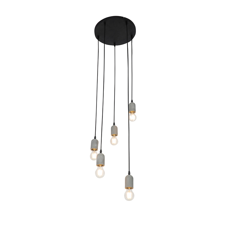 Industriële hanglamp zwart met beton rond 5-lichts - Pedra