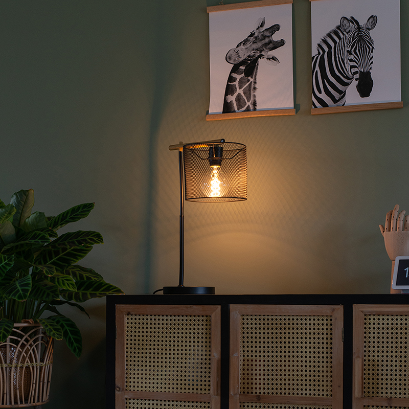 Industriële tafellamp zwart - Drum Mesh