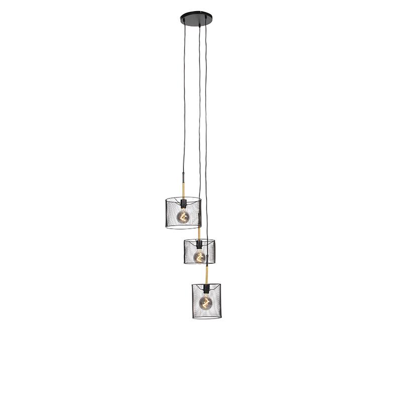 Industriële hanglamp zwart 3-lichts - Drum Mesh