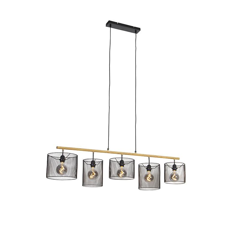 Industriële hanglamp zwart 5-lichts - Drum Mesh