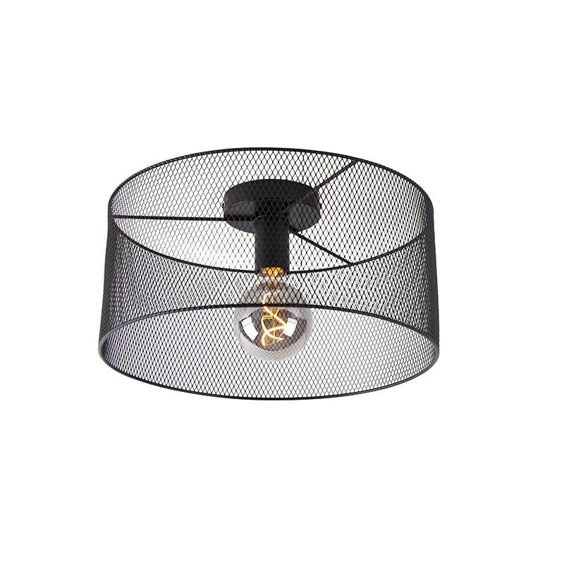 Industriële plafondlamp zwart - Drum Mesh