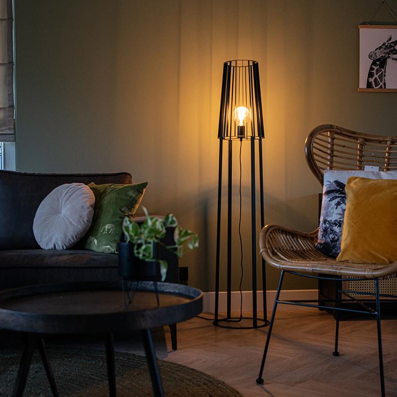 Moderne vloerlamp zwart - Wieza
