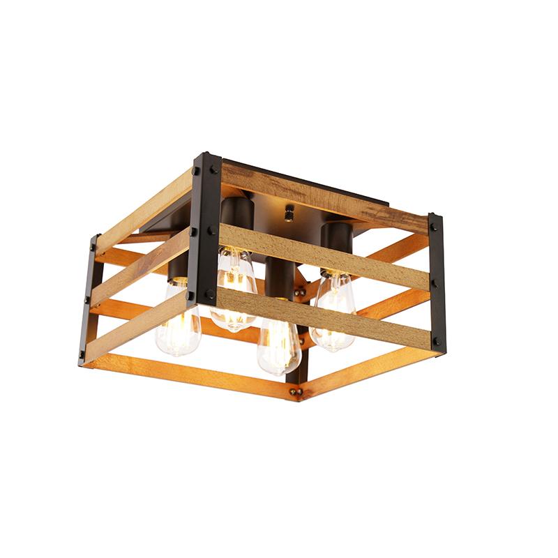 Industriële plafondlamp zwart met hout 4-lichts - Paleta Mai