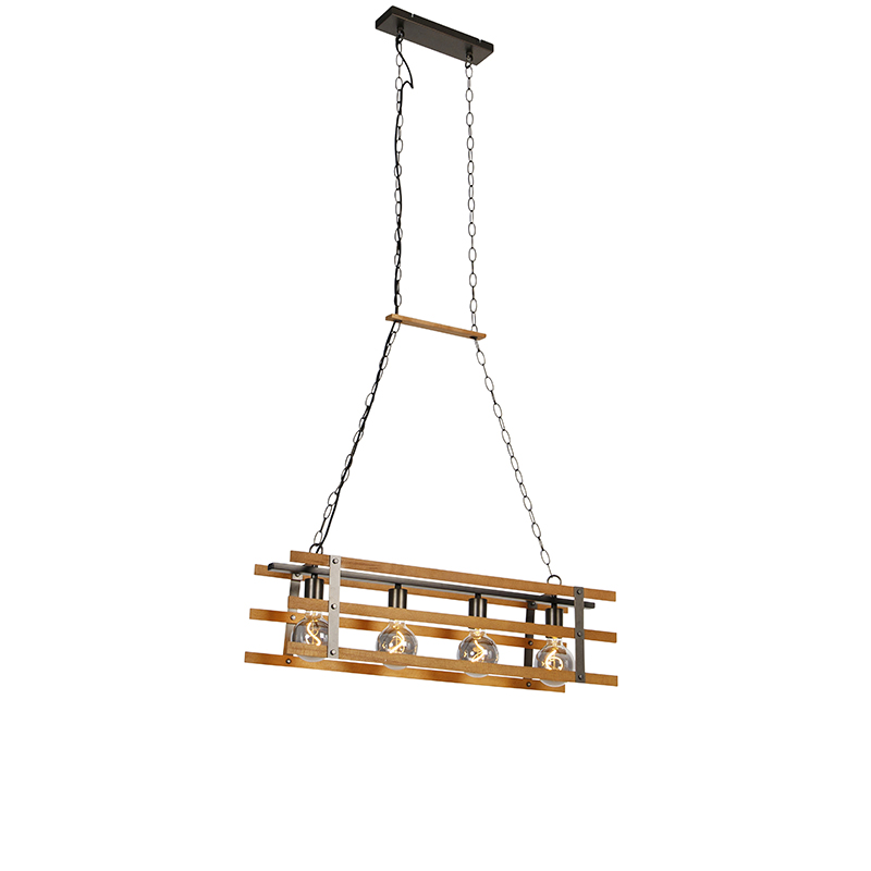 Industriële hanglamp zwart met hout 80 cm 4-lichts - Paleta Mai