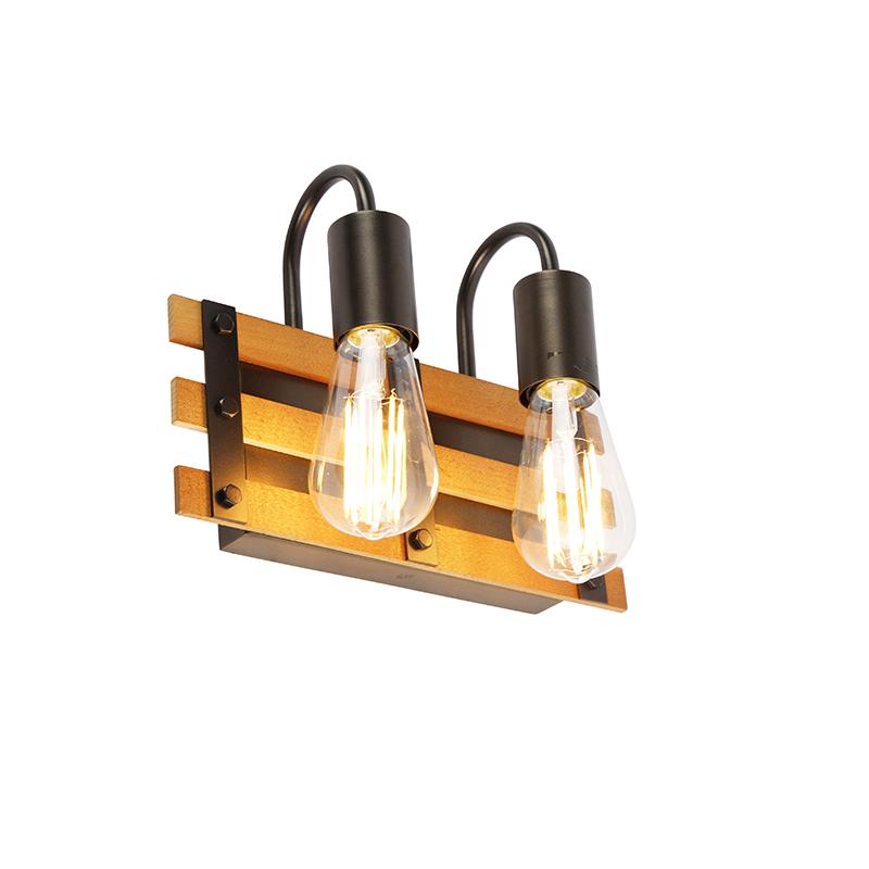 Industriële wandlamp zwart met hout 2-lichts - Paleta Mai