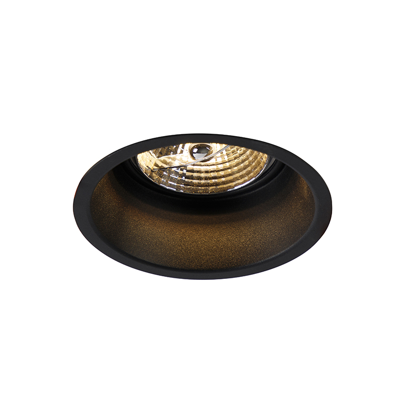 Moderne ronde inbouwspot zwart AR70 - Dept
