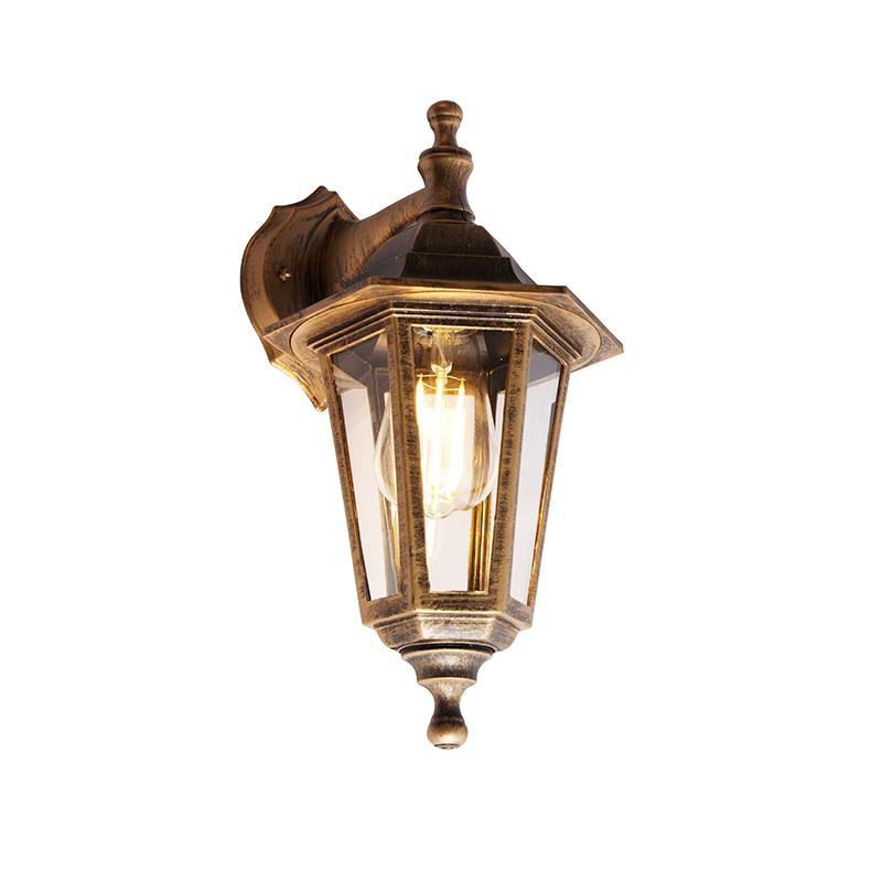 Antieke buiten wandlamp goud IP44 - New Haven