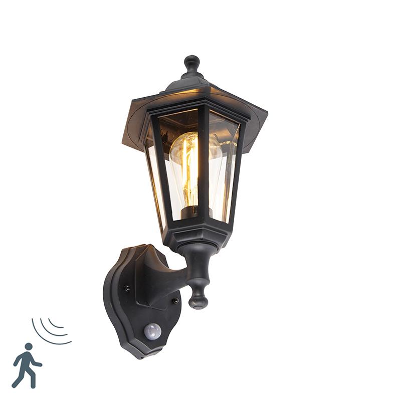 Buitenwandlamp zwart met bewegingssensor - New Haven Up