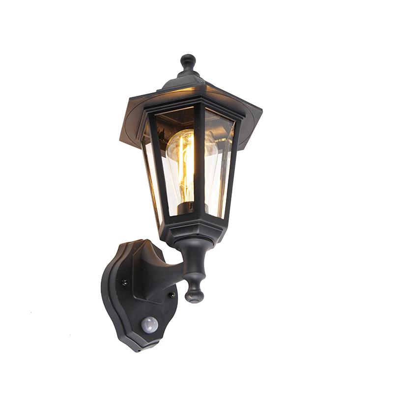 Klassieke buiten wandlamp zwart met bewegingssensor - New Haven