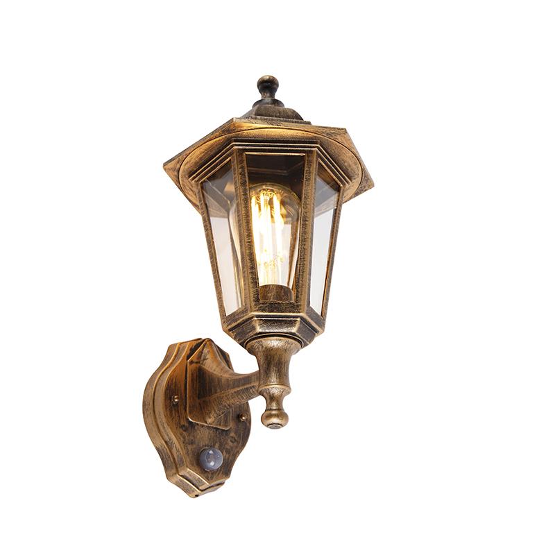 Klassieke buitenwandlamp antiek goud met bewegingssensor - New Haven