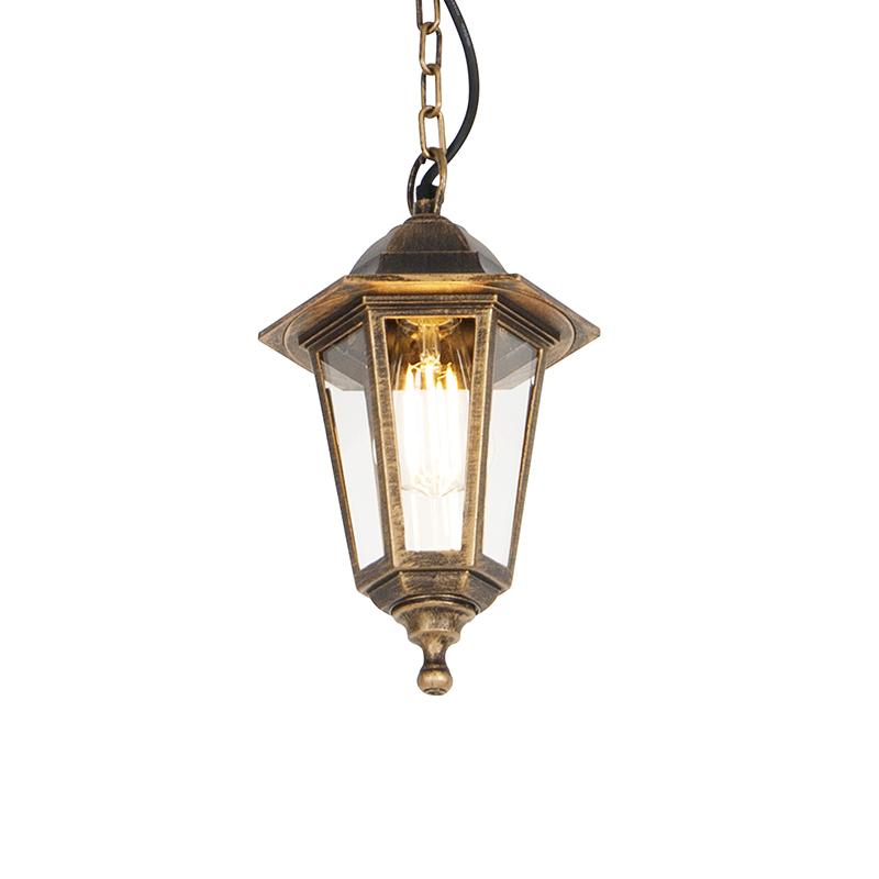 Buiten hanglamp antiek goud IP44 - New Haven
