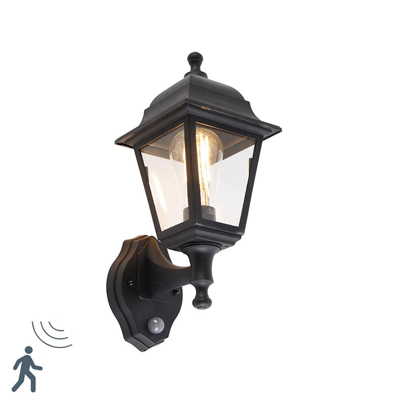 Klassieke buitenwandlamp zwart met bewegingsmelder - Capital
