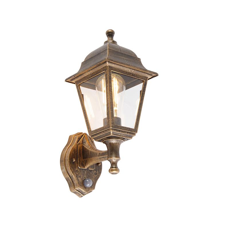 Antieke wandlamp goud IP44 met bewegingsmelder - Capital