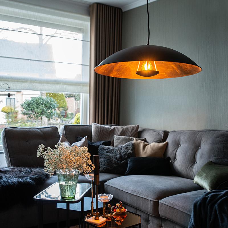 Vintage hanglamp zwart met goud 60 cm - Emilienne