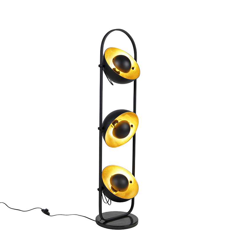 Industriële vloerlamp zwart met goud 3-lichts - Emilienne Novo