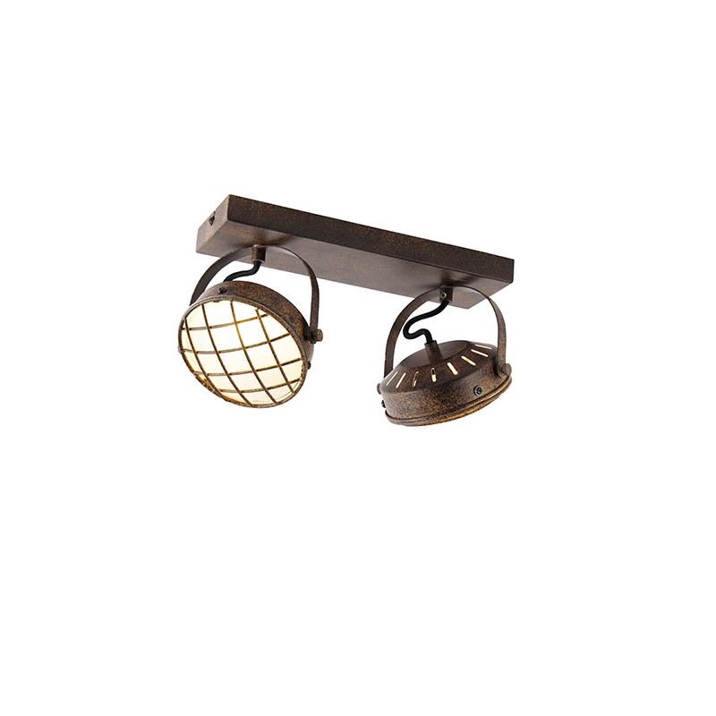 Vintage spot roestbruin 2-lichts - Tamina