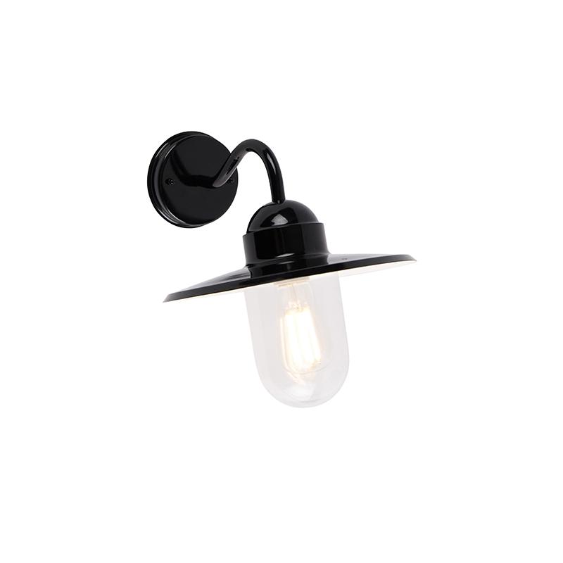 Landelijke buitenwandlamp zwart IP44 - Kansas