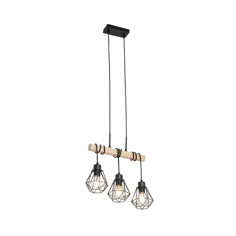 Landelijke plafonniëre zwart met hout 3-lichts - Chon