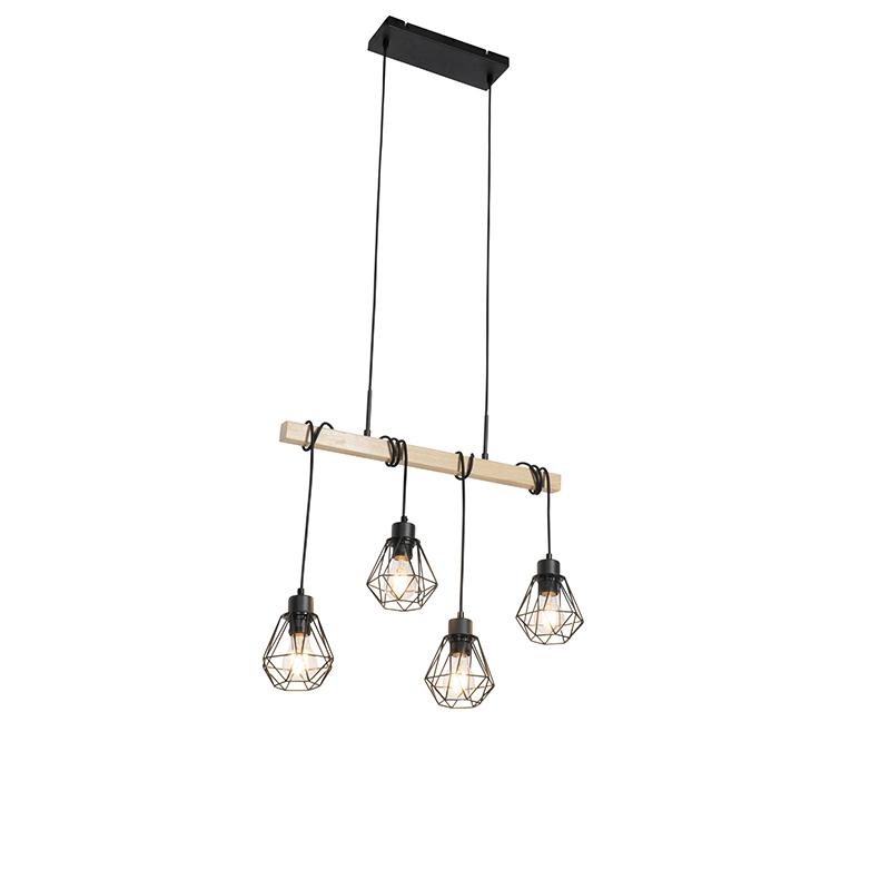 Landelijke hanglamp zwart met hout 4-lichts - Chon