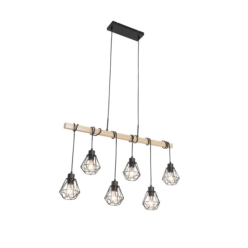 Landelijke hanglamp zwart met hout 6-lichts - Chon