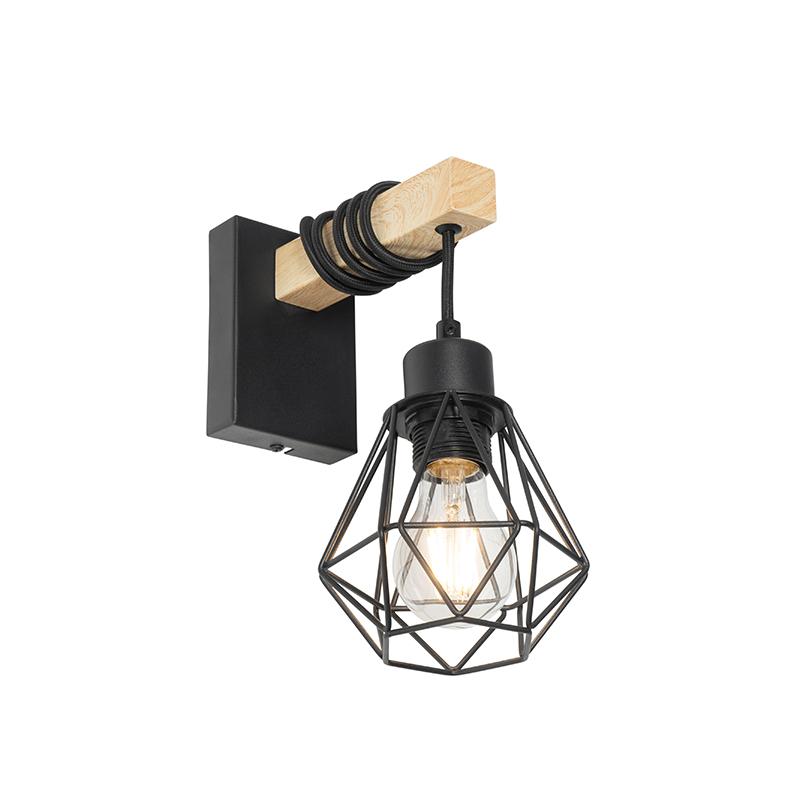 Landelijke wandlamp zwart met hout - Chon