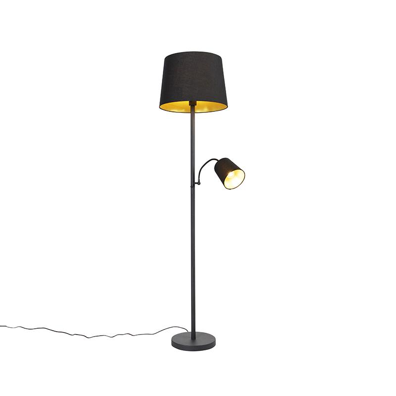 Klassieke vloerlamp zwart met goud en leeslampje - Retro