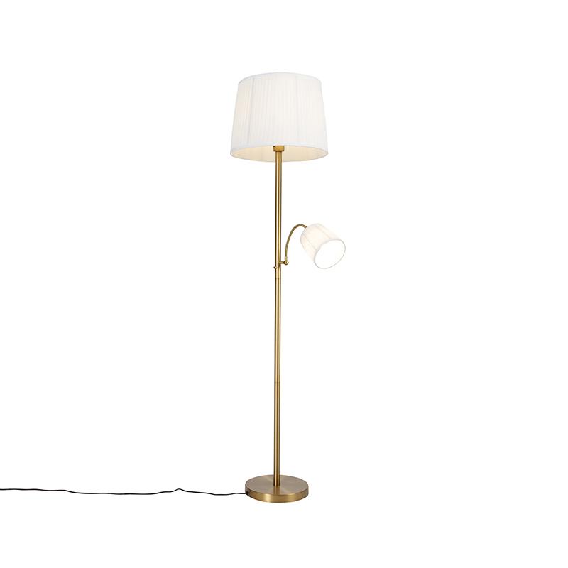 Klassieke vloerlamp brons stoffen kap wit met leeslamp - Retro
