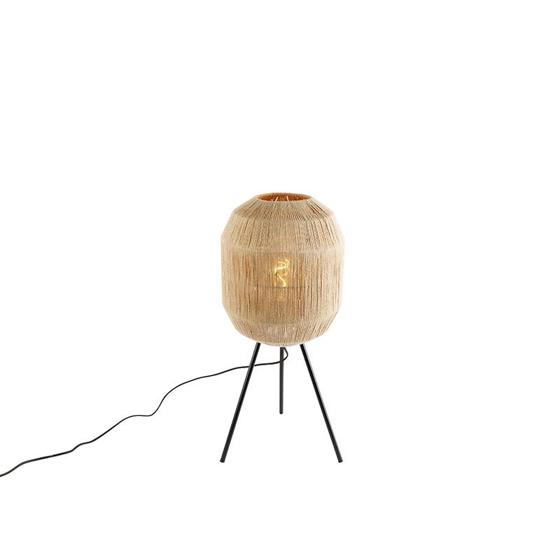 Oosterse tafellamp zwart met touw - Riki