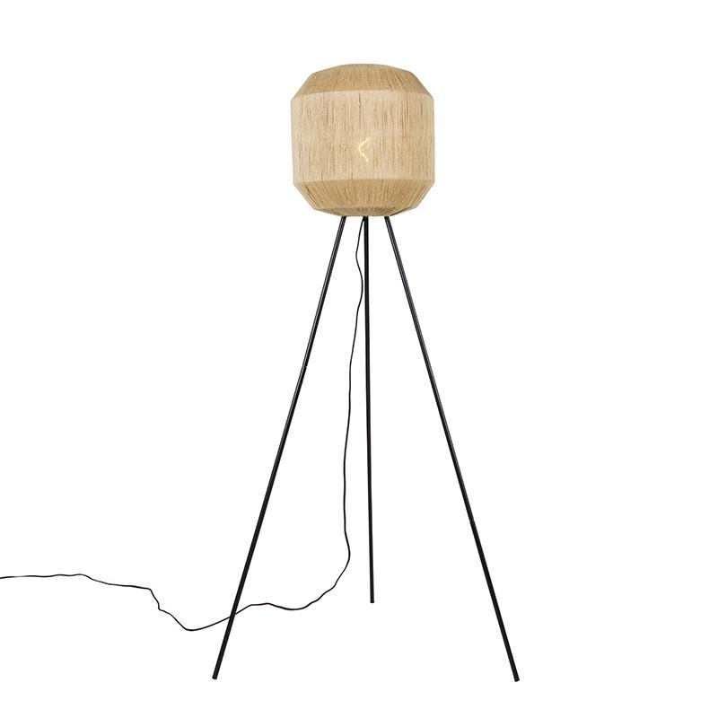 Oosterse vloerlamp zwart met touw tripod - Riki