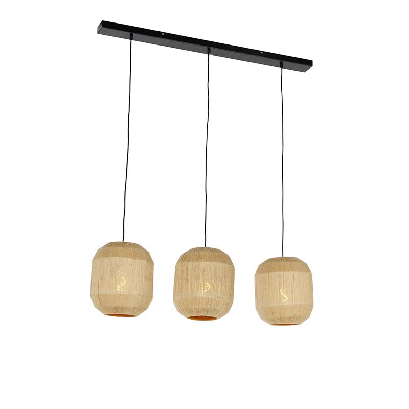 Oosterse hanglamp zwart met touw 3-lichts - Riki