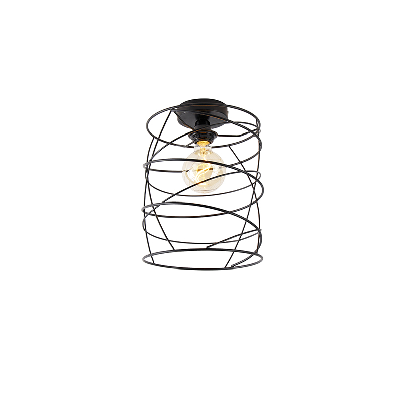 Designerska lampa sufitowa czarna - Spira