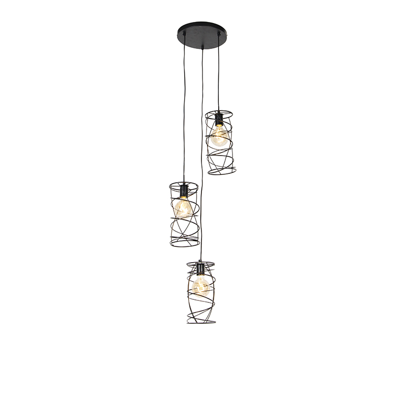 Design hanglamp zwart 3 lichts Spira