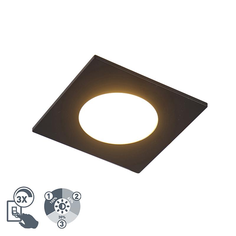 Moderne inbouwspot zwart incl. LED 3-staps dimbaar IP65 - Simply