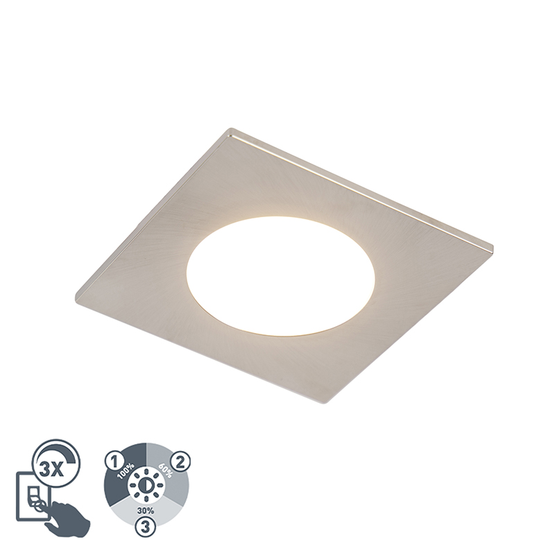 Moderne inbouwspot staal incl. LED 3-staps dimbaar IP65 - Simply