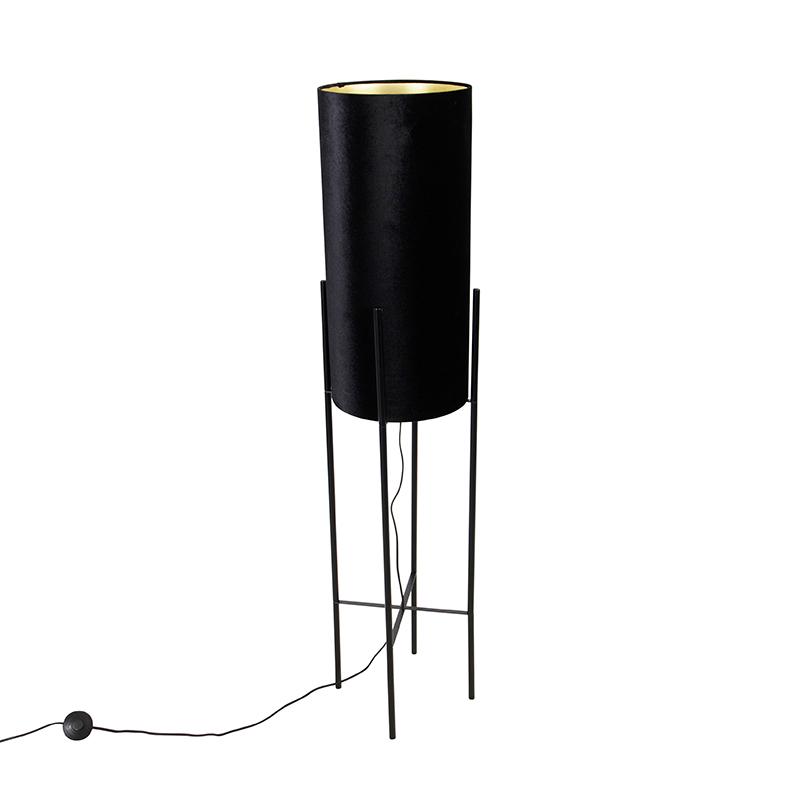 Design vloerlamp zwart velours kap zwart met goud - Rich
