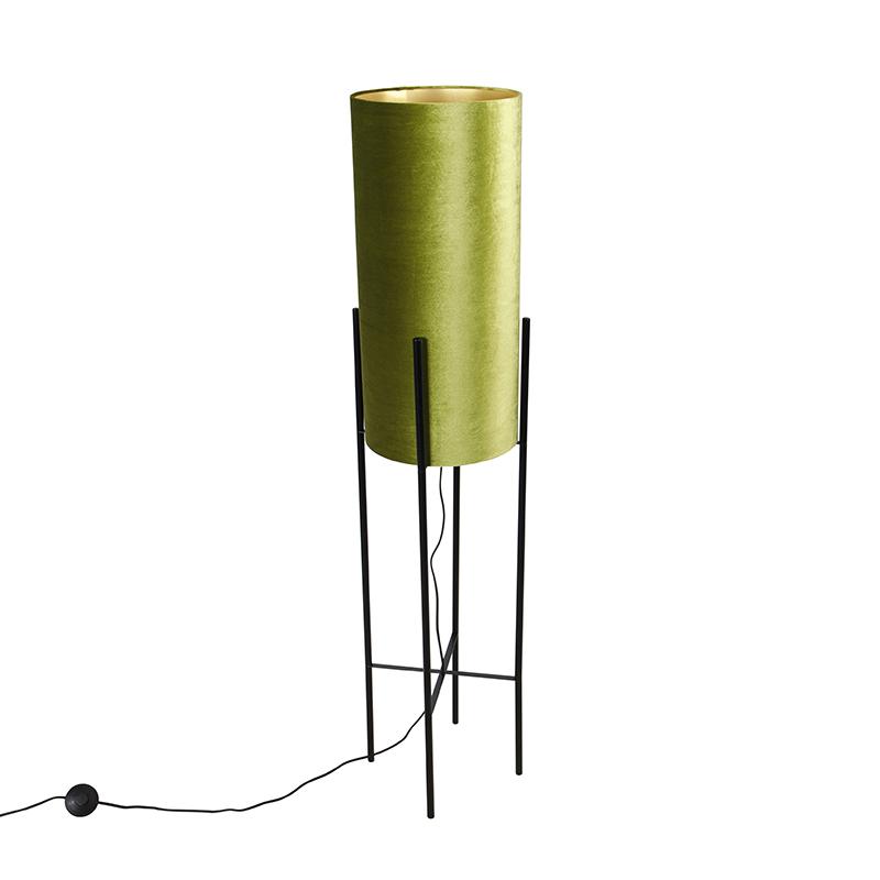 Design vloerlamp zwart velours kap groen met goud - Rich