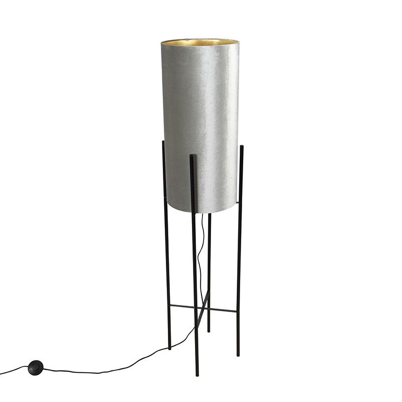 Designerska lampa podłogowa czarna klosz welurowy srebrno-złoty - Rich