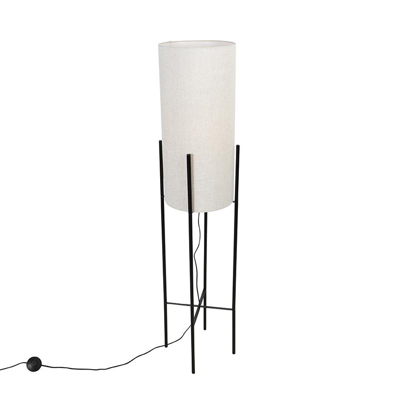 Design vloerlamp zwart linnen kap grijs - Rich