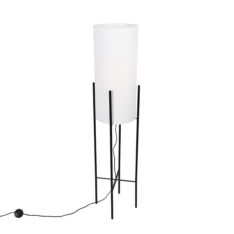 Moderne vloerlamp zwart met linnen witte kap Rich