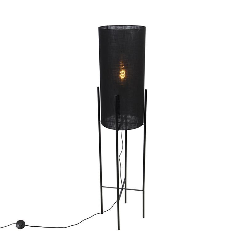 Moderne vloerlamp zwart met linnen zwarte kap - Rich