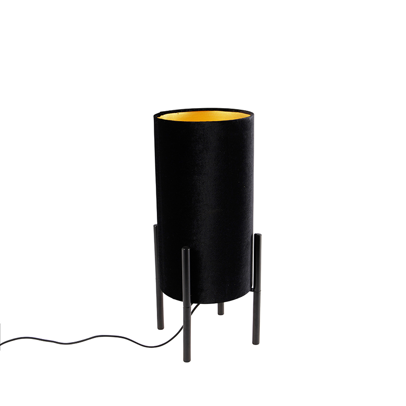 Design tafellamp zwart velours kap zwart met goud - Rich