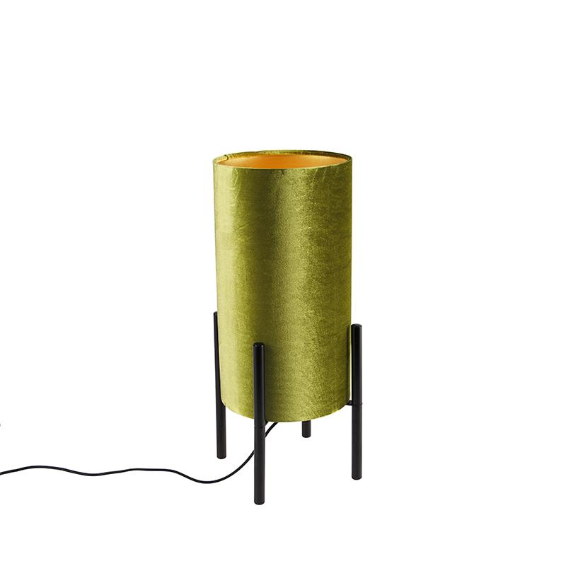 Design tafellamp zwart velours kap groen met goud - Rich
