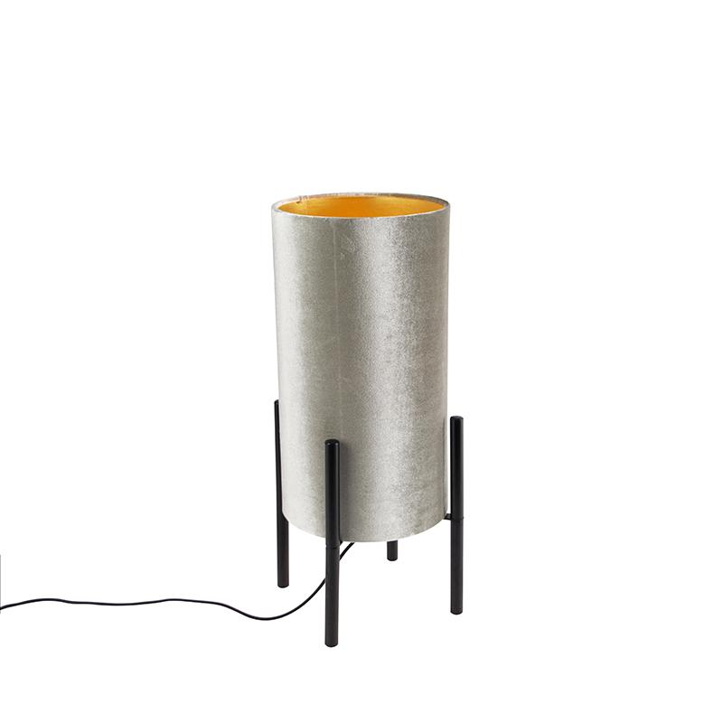 Moderne tafellamp zwart met velours grijze kap Rich