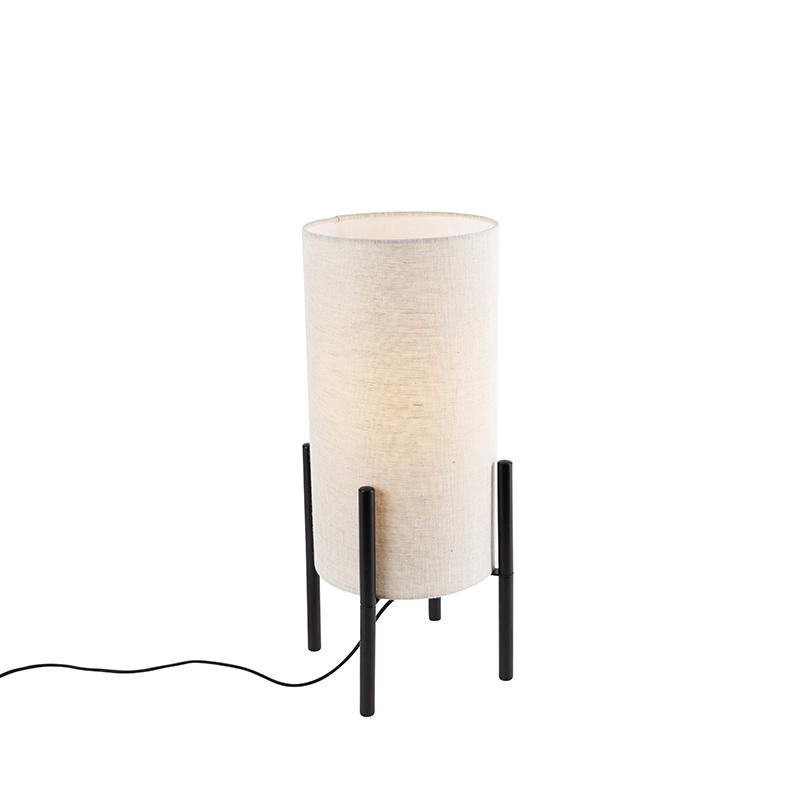 Design tafellamp zwart linnen kap grijs Rich