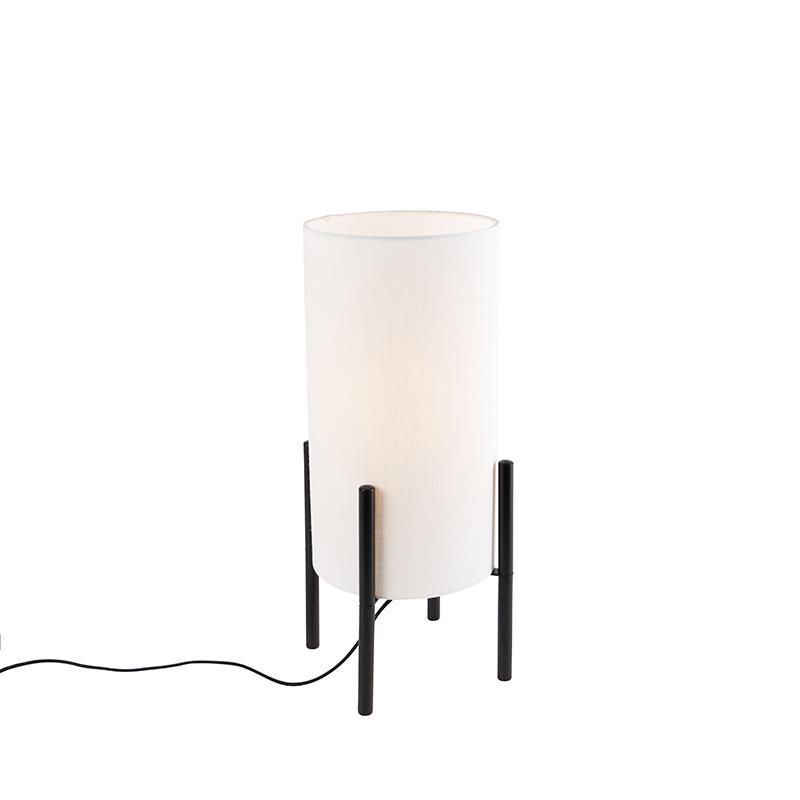 Designerska lampa stołowa czarna klosz lniany biały - Rich