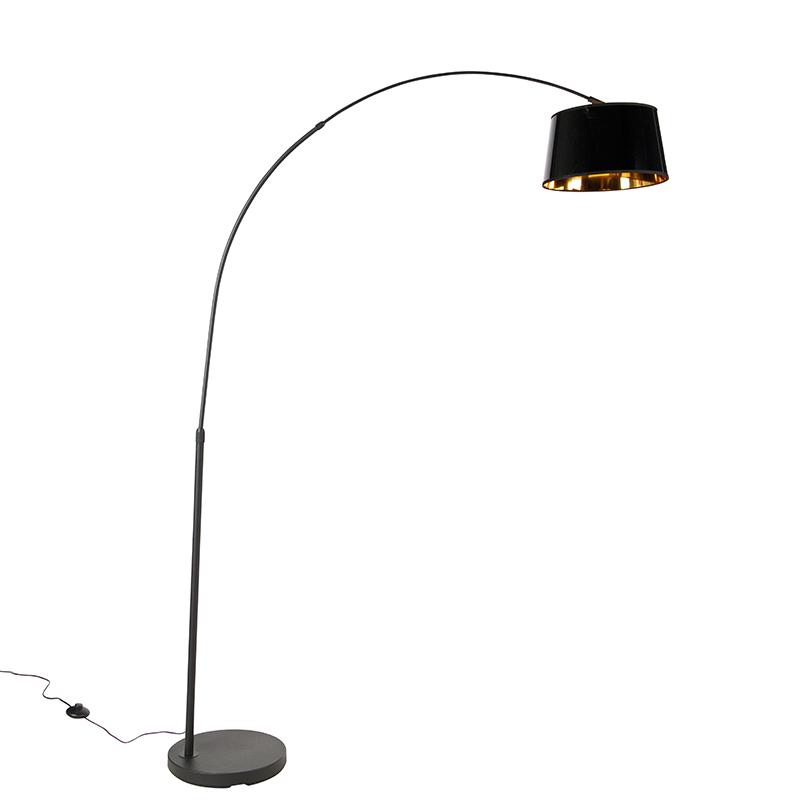 Moderne booglamp zwart met zwarte kap - Arc Basic