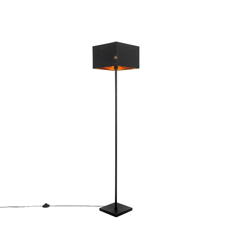 Moderne vloerlamp zwart met goud - VT 1