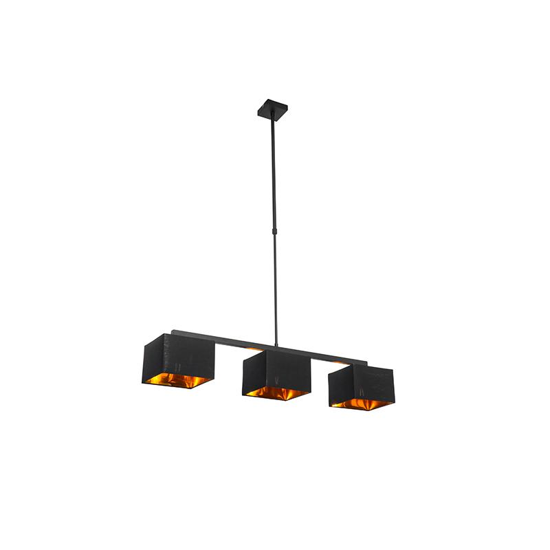 Moderne hanglamp zwart met goud 88 cm 3-lichts - VT 3
