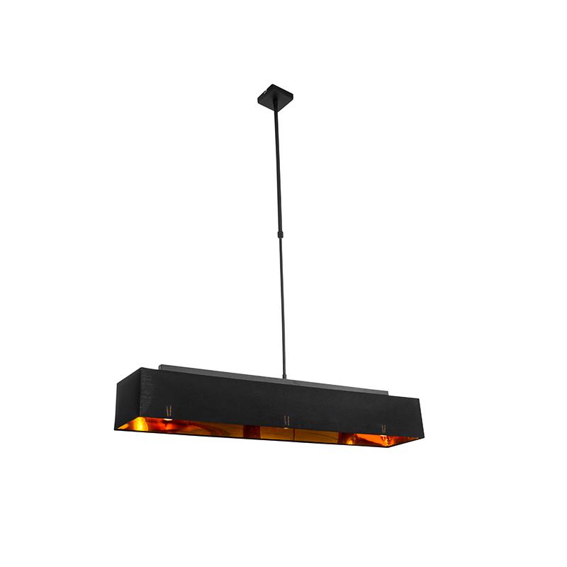 Moderne hanglamp zwart met goud 90 cm 3-lichts - VT 1