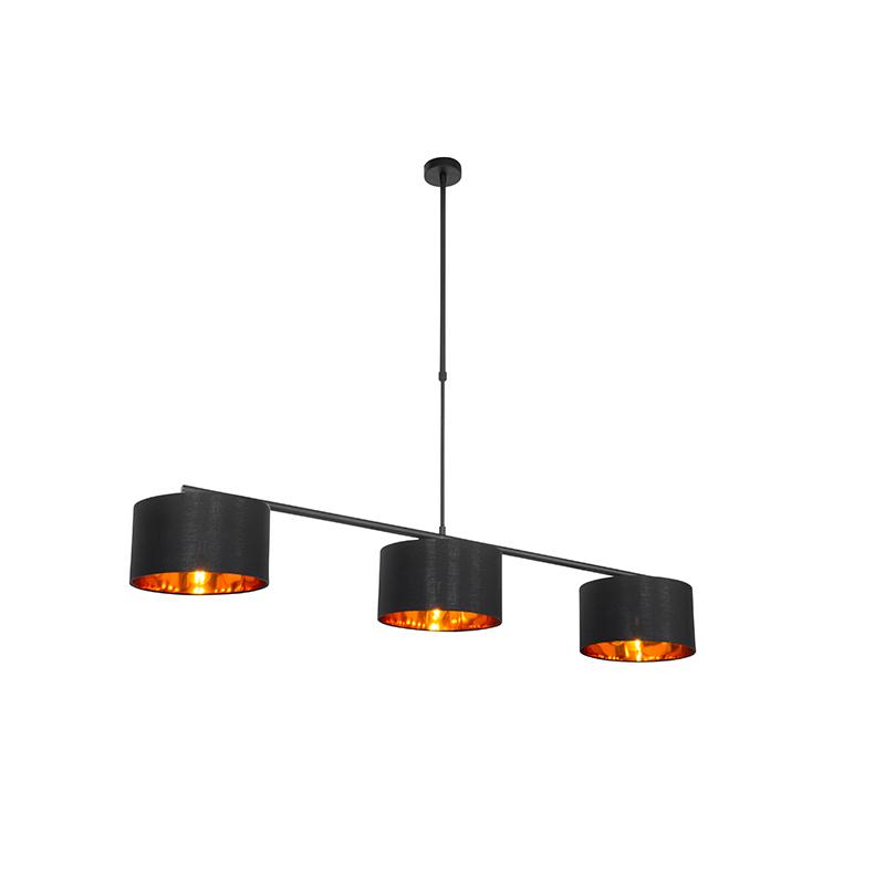 Moderne hanglamp zwart met goud 3-lichts - VT 3